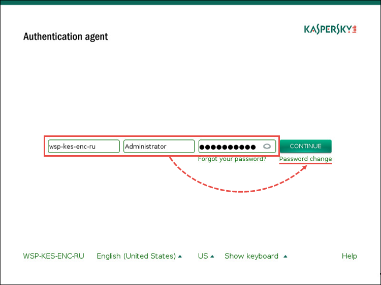 Image: changing the Authentication agent password in Kaspersky Endpoint Security 10 for Windows