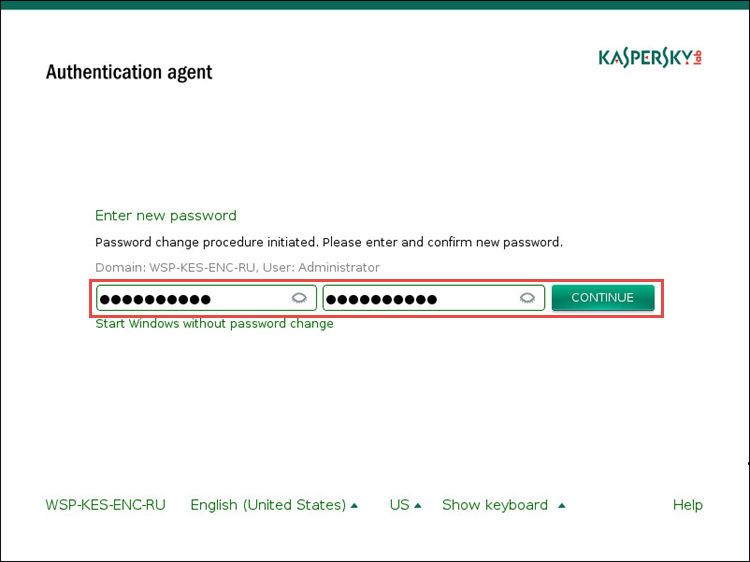 Image: entering a new Authentication agent password in Kaspersky Endpoint Security 10 for Windows