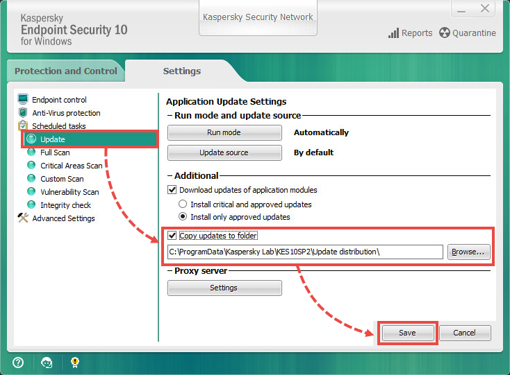 Saving updates to a folder in Kaspersky Endpoint Security 10 for Windows