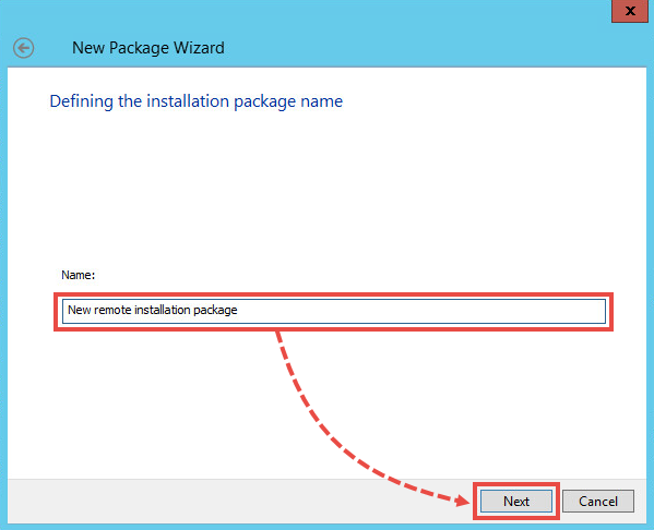 Naming an installation package in Kaspersky Security Center