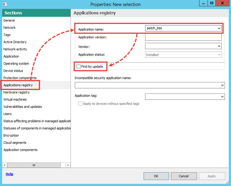 Adjusting the selection settings in Kaspersky Security Center