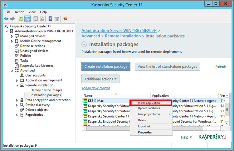 Launching the installation of Kaspersky Endpoint Security 11 for Mac by clicking on its installation package