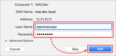 Entering the administrator login and password in Apple Remote Desktop