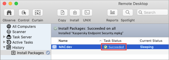 The result of completing the installation task for Kaspersky Endpoint Security 11 for Mac via Apple Remote Desktop