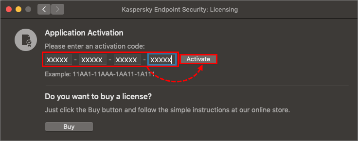 Entering an activation code in Kaspersky Endpoint Security 11 for Mac