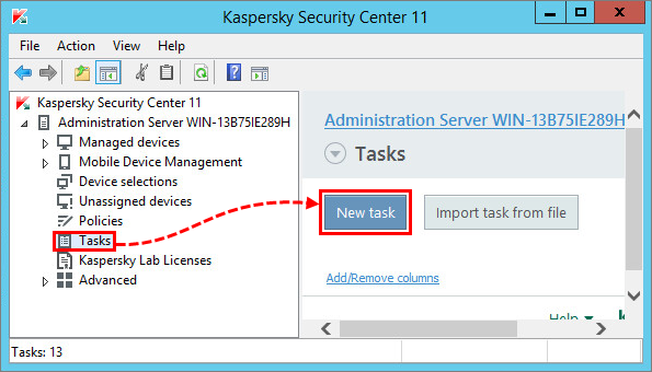 Creating a task in Kaspersky Security Center