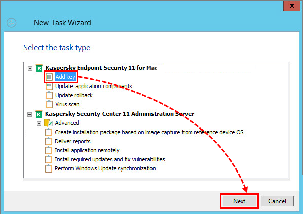 Selecting a task type in Kaspersky Security Center