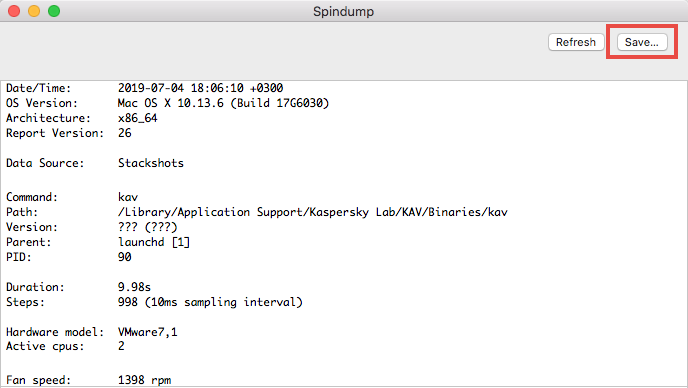 Saving Spindump to a file