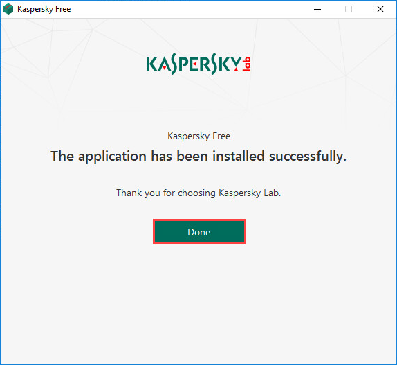 Completing the installation of Kaspersky Free 20