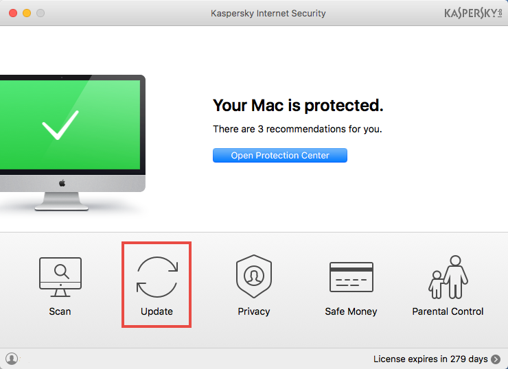 Image: Kaspersky Internet Security for Mac main window