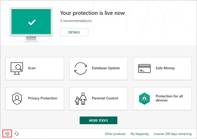 Opening the Kaspersky Internet Security 19 settings