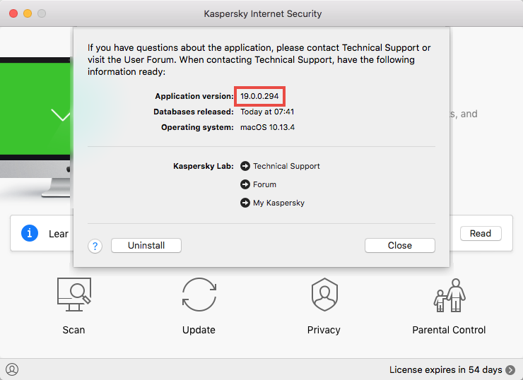 Viewing the version number of Kaspersky Internet Security 19 for Mac