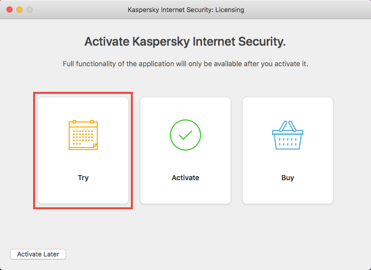 Applying the trial license to Kaspersky Internet Security 19 for Mac