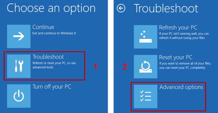 Image: selecting Troubleshoot in the Choose an option view