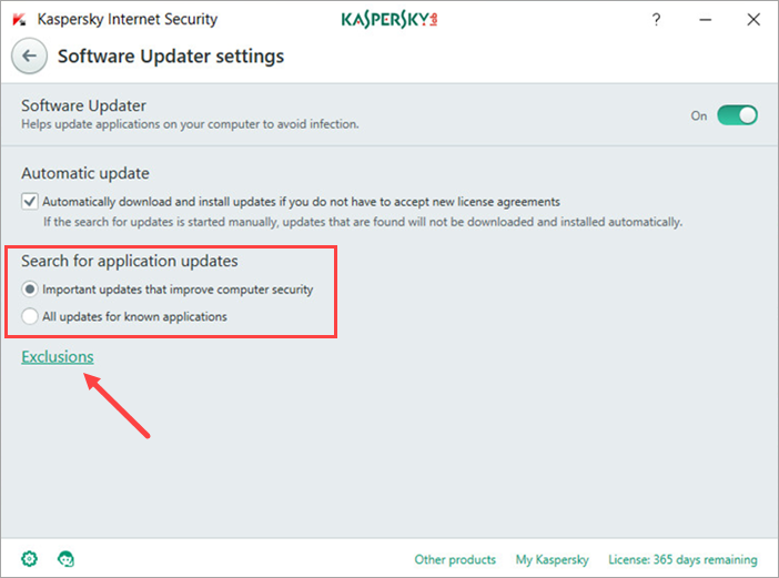 Image: the Software Updater settings window in Kaspersky Internet Security 2018