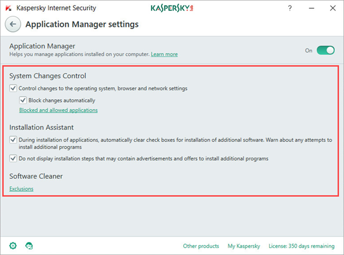 Image: Kaspersky Internet Security 2018 Application Manager settings window