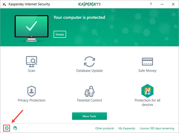 Image: Kaspersky Internet Security main window Image: Settings button in Kaspersky Internet Security window