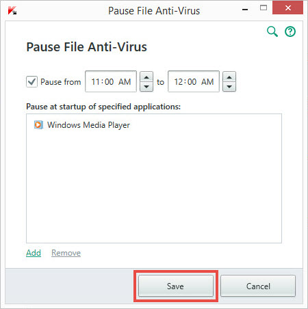 Image: pausing File Anti-Virus in Kaspersky Total Security