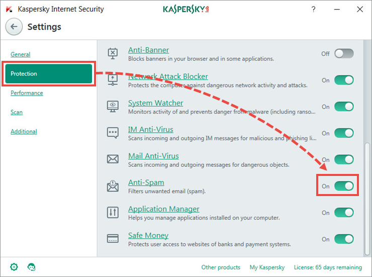 Enabling Anti-Spam in Kaspersky Internet Security 2018