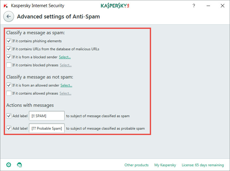 Adjusting advanced Anti-Spam settings in Kaspersky Internet Security 2018