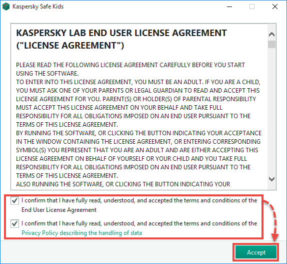 Accepting the Kaspersky Safe Kids End User License Agreement