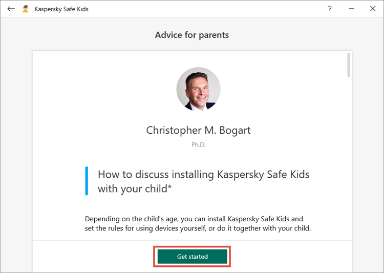 Setting up Kaspersky Safe Kids