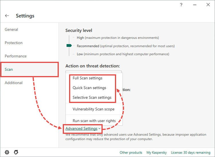 Opening the advanced scan settings in Kaspersky Internet Security 20