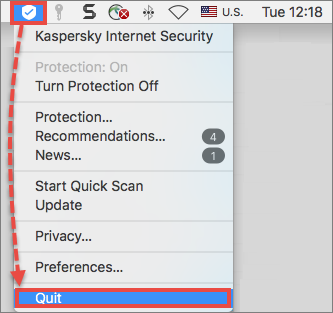 Quitting Kaspersky Internet Security 20 for Mac