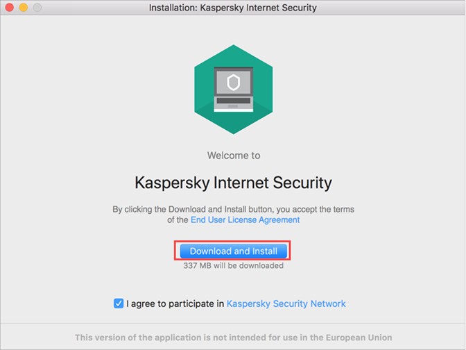 Accepting the KSN Statement and EULA before installing Kaspersky Internet Security 20 for Mac