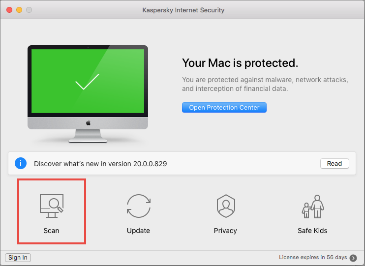 Opening a scan window in Kaspersky Internet Security for Mac