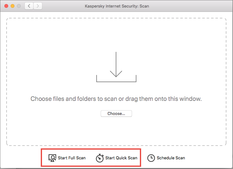 Starting a full or quick scan in Kaspersky Internet Security for Mac