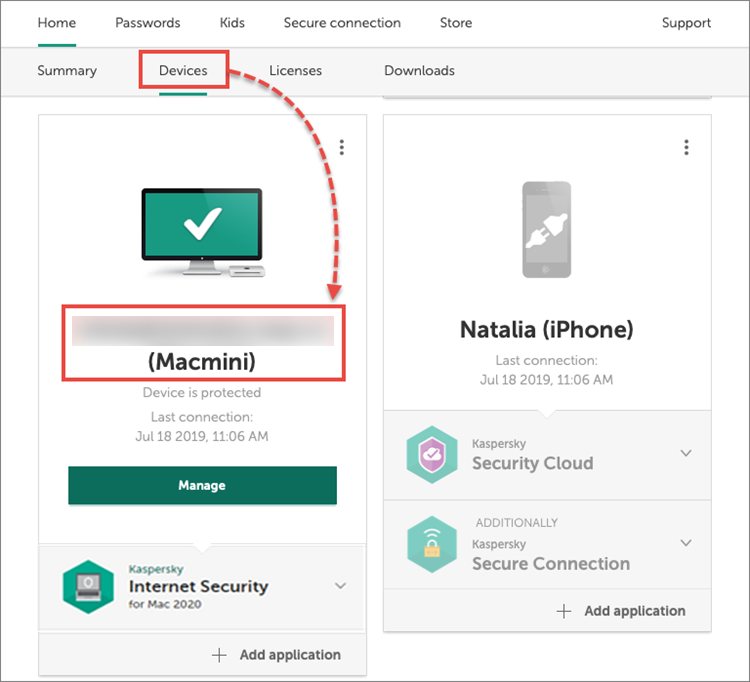 Opening the device management window in My Kaspersky