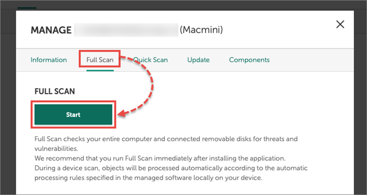 Running a full scan in Kaspersky Security for Mac