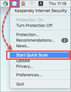 Starting a quick scan in Kaspersky Internet Security for Mac