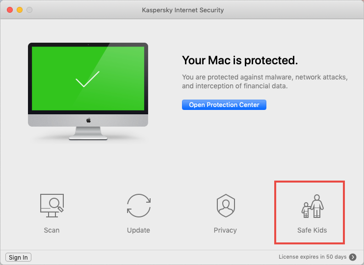 Safe Kids feature in Kaspersky Internet Security for Mac