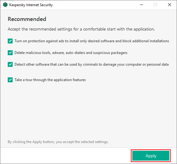 Selecting the recommended settings during Kaspersky Internet Security installation