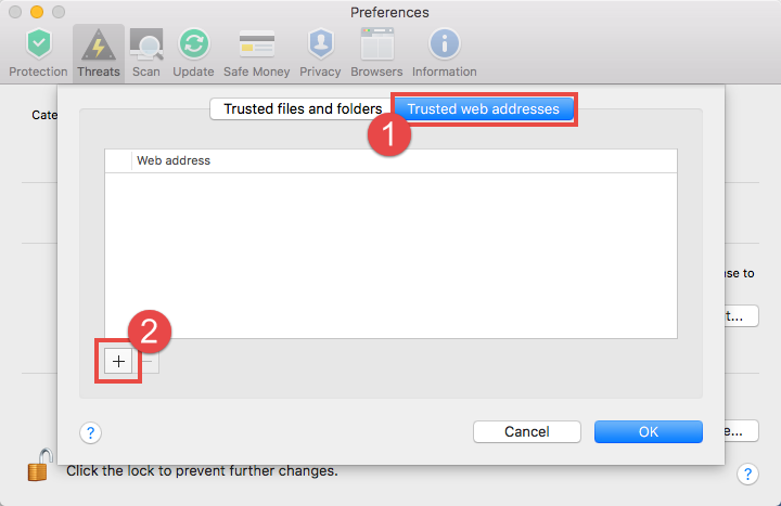 Image: Trusted files and folders tab in the Trusted Zone window