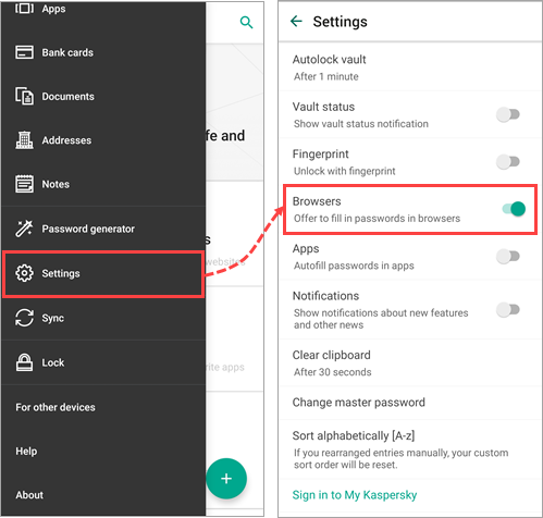 Enabling the extension for password autofill in Kaspersky Password Manager