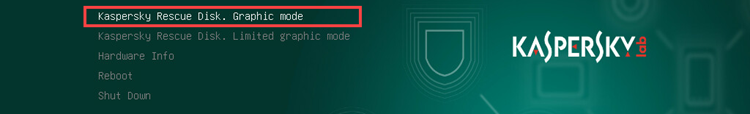 Selecting startup mode in Kaspersky Rescue Disk 18
