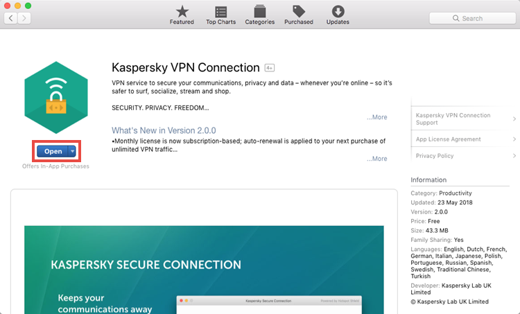 Running Kaspersky Secure Connection for Mac