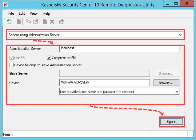 Connecting the managed computer using Administration Server in the klactgui tool
