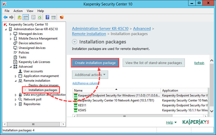 Creating an installation package in Kaspersky Security Center 10