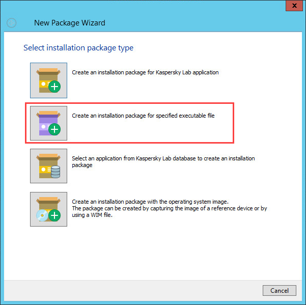 Selecting an installation package type in Kaspersky Security Center 10
