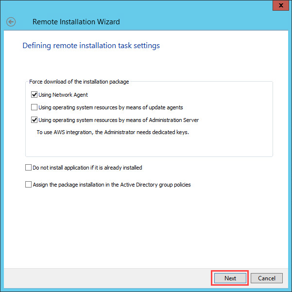 Defining the remote installation settings for a patch in Kaspersky Security Center 10