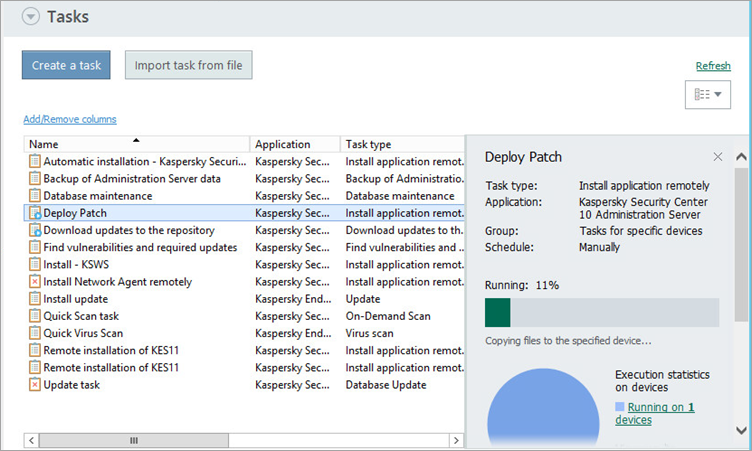 Patch installation process in Kaspersky Security Center 10.
