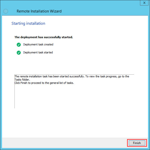 Completing remote installation task creation in Kaspersky Security Center 10