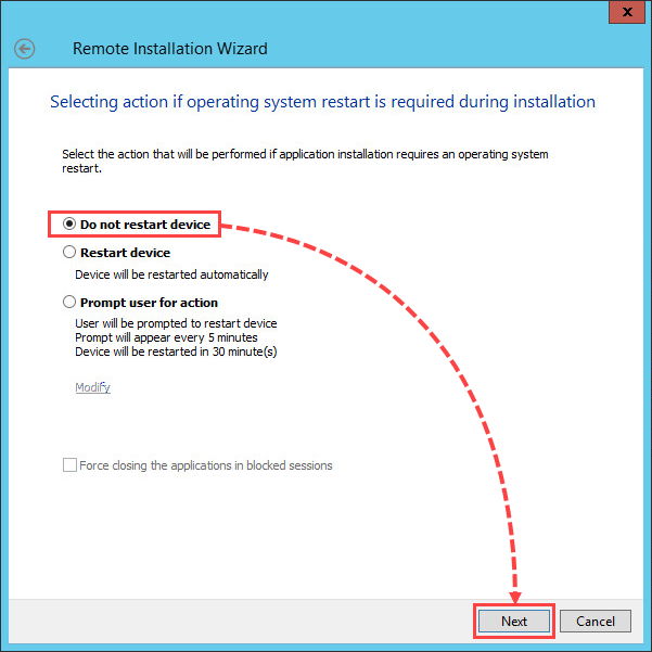 Selecting system restart option when installing a patch for Kaspersky Security 10.x for Windows Server