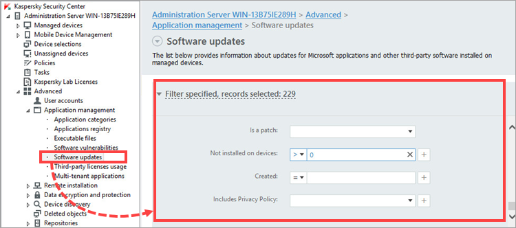 Opening the Software updates section and clearing filters in Kaspersky Security Center 11