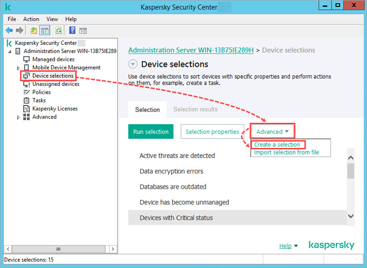 Creating a device selection in Kaspersky Security Center