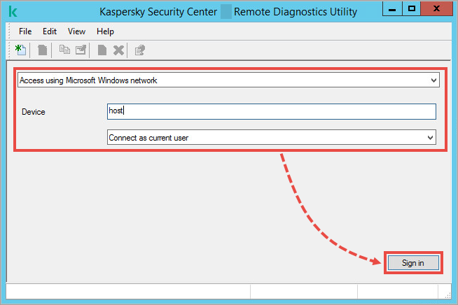 Kaspersky Security Center Remote Diagnostics Utility window with connection settings.